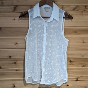 Lucky Brand Sheer Eyelet Embroidered Tank